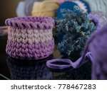 crochet basket with t shirt yarn | Shutterstock . vector #778467283
