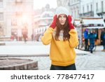 portrait of playful hipster... | Shutterstock . vector #778477417