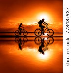 sporty friends on bicycle on...   Shutterstock . vector #778485937