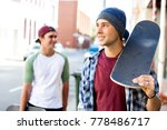 teenage friends walking at the... | Shutterstock . vector #778486717