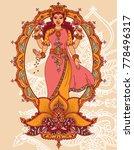 indian goddess lakshmi and...   Shutterstock .eps vector #778496317