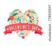 cute vintage valentine's day... | Shutterstock .eps vector #778545547