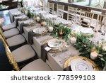 wedding. banquet. the chairs... | Shutterstock . vector #778599103