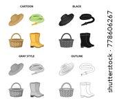 farm hat  watering hose  basket ... | Shutterstock .eps vector #778606267