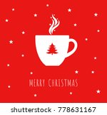 christmas cup with coffee or... | Shutterstock .eps vector #778631167