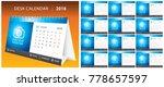 2018 desk calendar  week start... | Shutterstock .eps vector #778657597
