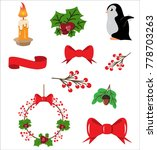 vector christmas wreath with... | Shutterstock .eps vector #778703263