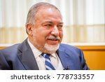 Small photo of TEL AVIV, ISRAEL. December 20, 2017. Avigdor Lieberman, Israeli politician, currently serving as Defense Minister, giving an interview to the press.