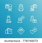 aid family icon line set with... | Shutterstock .eps vector #778740073