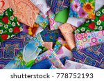 a lot of cotton fabric. view... | Shutterstock . vector #778752193