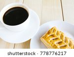 corn pie and coffee cup on... | Shutterstock . vector #778776217