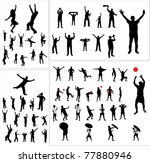 Set Of Silhouettes Of Sports...