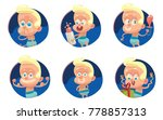 vector set of six round blue... | Shutterstock .eps vector #778857313
