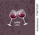 glasses of red wine vector...   Shutterstock .eps vector #778875187