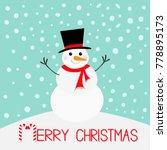 merry christmas. snowman ... | Shutterstock . vector #778895173