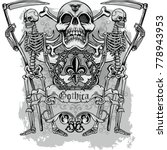 gothic coat of arms with skull  ... | Shutterstock .eps vector #778943953
