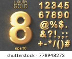 Set of shiny golden luxury 3D Numbers and Characters. Golden metallic glitter bold symbols on gray background. Good set for treasure and luxury concepts. Transparent shadow, EPS 10 vector illustration | Shutterstock vector #778948273