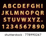 font lamp symbol  gold letter... | Shutterstock .eps vector #778990267