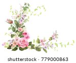 angled frame with roses  spring ... | Shutterstock .eps vector #779000863