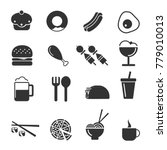 food   drink icon set  | Shutterstock .eps vector #779010013
