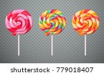 set of realistic spiral striped ...   Shutterstock .eps vector #779018407