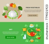 two colored healthy eating... | Shutterstock .eps vector #779021923