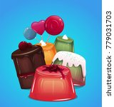 illustration with jelly  cake... | Shutterstock .eps vector #779031703