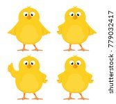 funny yellow chickens isolated... | Shutterstock .eps vector #779032417