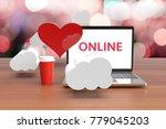 finding love notebooks online....   Shutterstock . vector #779045203