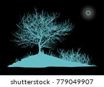 realistic tree silhouette on... | Shutterstock .eps vector #779049907