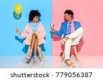 african american man presenting ... | Shutterstock . vector #779056387
