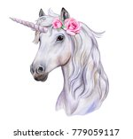 Stock photo unicorn with a wreath of flowers white horse watercolor illustration template clipart 779059117