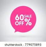 60  offer label sticker  sale... | Shutterstock .eps vector #779075893