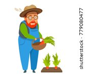 old man farmer in coverall hold ... | Shutterstock .eps vector #779080477