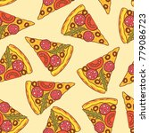 pizza pattern. vector color... | Shutterstock .eps vector #779086723