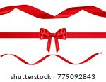 single red silk gift bow made... | Shutterstock . vector #779092843