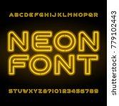 neon alphabet font. yellow... | Shutterstock .eps vector #779102443
