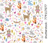 seamless pattern with cute... | Shutterstock .eps vector #779117077