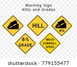 road sign. warning. hills and... | Shutterstock .eps vector #779155477