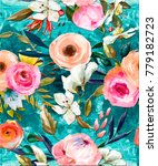 seamless floral oil painted... | Shutterstock . vector #779182723