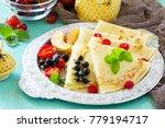 pancake breakfast. pancakes on...   Shutterstock . vector #779194717