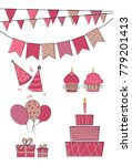birthday party elements set for ... | Shutterstock .eps vector #779201413