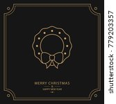 christmas card of gold line... | Shutterstock .eps vector #779203357