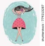 llustration girl vector.... | Shutterstock .eps vector #779213287