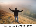 man is hiking and enjoying...   Shutterstock . vector #779219773