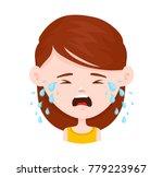 Women Young Girl Crying. Vecto...