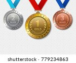 set of realistic 3d champion... | Shutterstock .eps vector #779234863