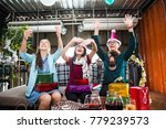 group of friends are in a... | Shutterstock . vector #779239573