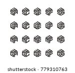 set logo with three letters ...   Shutterstock .eps vector #779310763