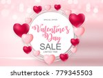 happy valentines day card with... | Shutterstock .eps vector #779345503